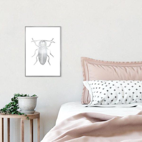 plakat ze srebrnym insektem