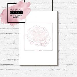 plakat różowo-złoty z różą