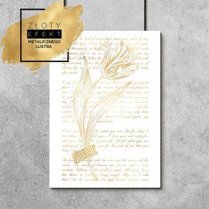 plakat złoty z tulipanem