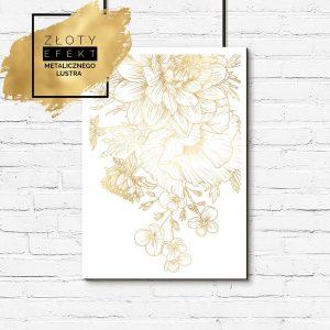 plakat metaliczny z motywem kwiatów