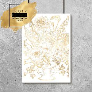plakat metaliczny kwiaty