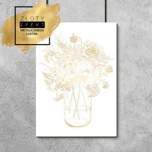 pozłacany plakat z kwiatami