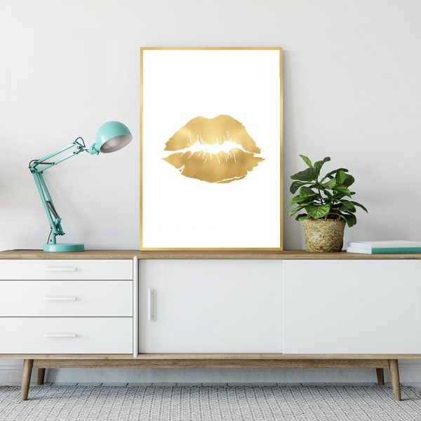złoty plakat usta