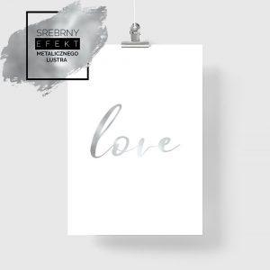 plakat z lustrzanym napisem love