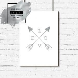 plakat srebrny napis love