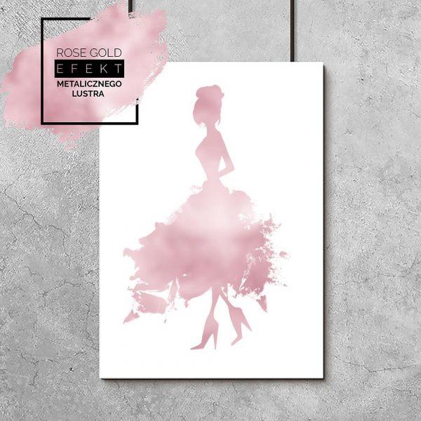 plakat metaliczny kobieta w sukni