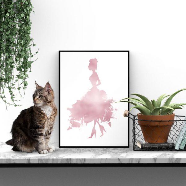 plakat glamour różowe złoto