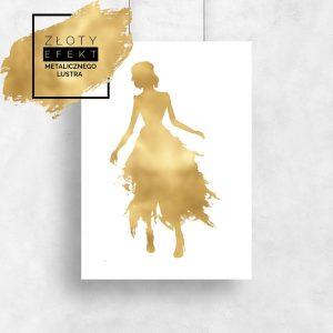plakat pozłacany kobieta w złotej sukni