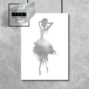 plakat srebrny z elegancką kobietą