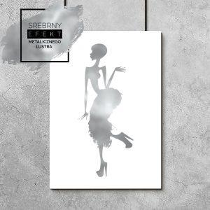 srebrny plakat z tancerką