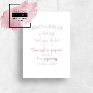 plakat rose gold z napisami do łazienki