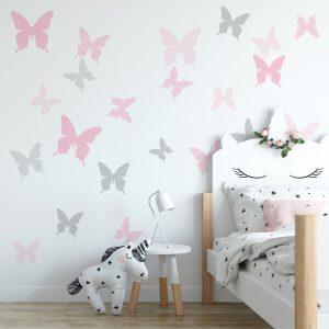 naklejka z motywem motyli do pokoju dziecka