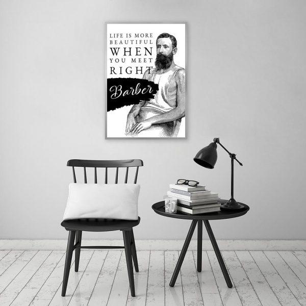 plakat z napisem do salonu barberskiego