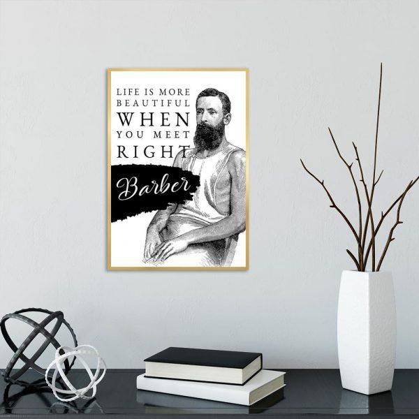 plakat z mężczyzną do salonu arberskiego