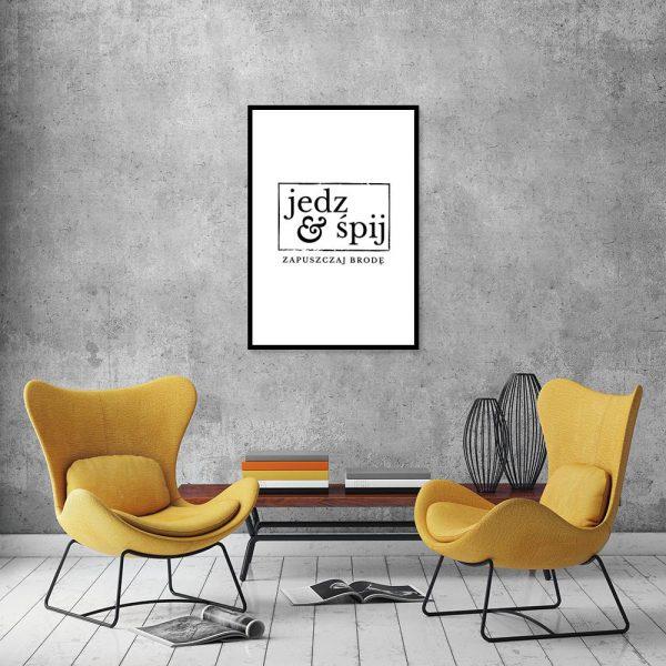 plakat z oryginalnym napisem do salonu barberskiego