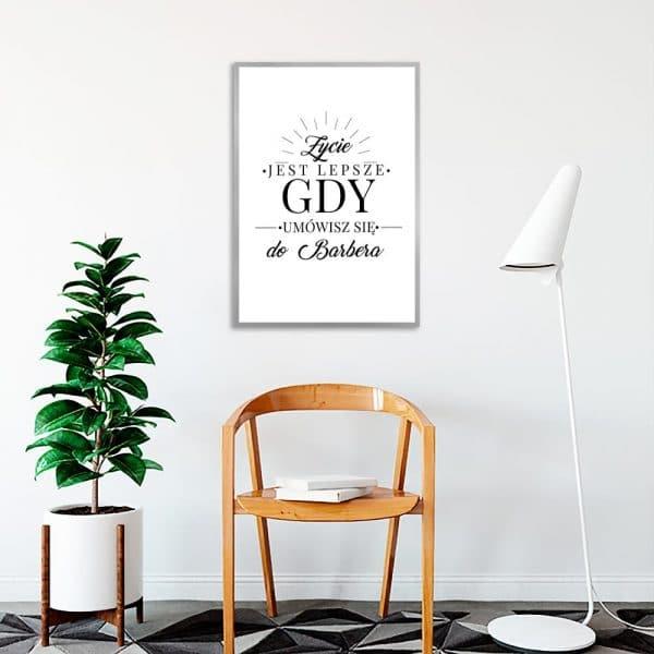 plakat z zabawnym napisem dla barbera