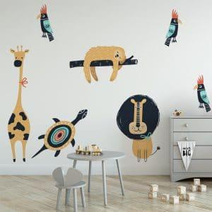 naklejka z kolorowymi zwierzętami do pokoju dziecka