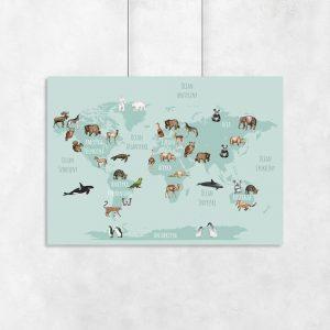 mapa świata i zwierzęta na plakacie