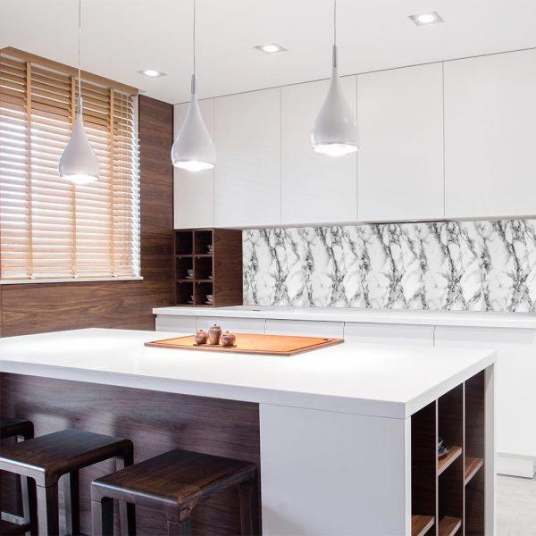 fototapeta kuchenna imitująca biały marmur