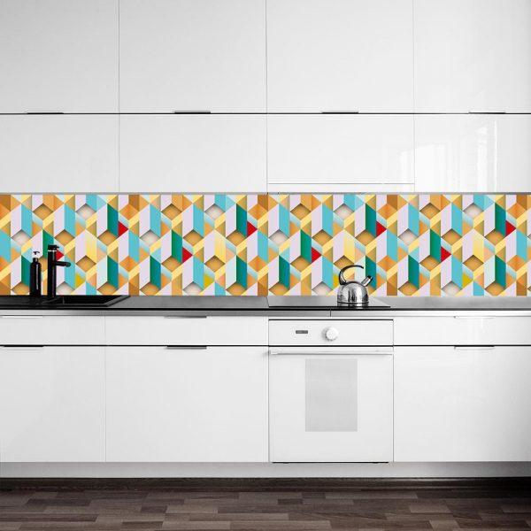 fototapeta kuchenna z geometryczną układanką
