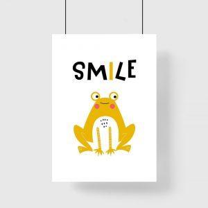 plakat do pokoju dziecka z żółtą żabką
