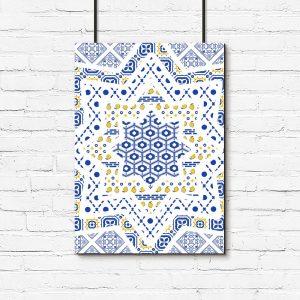 niebiesko-żółte wzorki