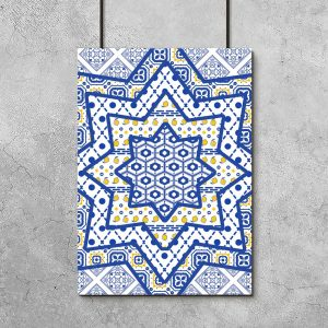 niebieskie wzory na plakacie