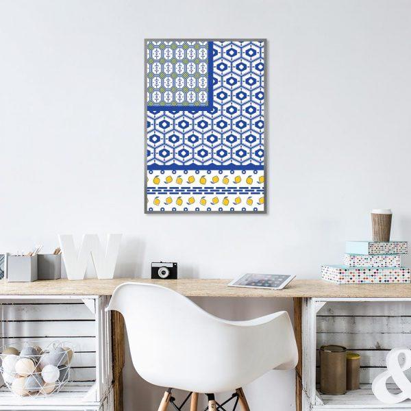 żółto-niebieski wzorek jako motyw