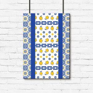 niebiesko-żółta dekoracja do pokoju