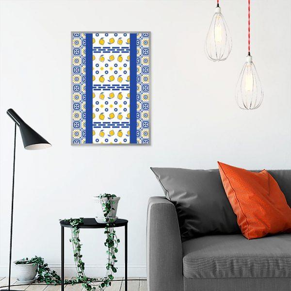 plakat do salonu z cytrynami i kwadratami