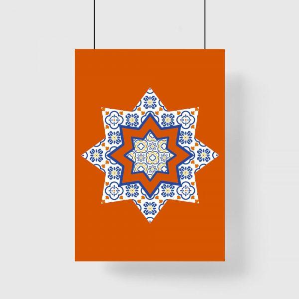 plakat z wzorami i gwiazdą pomarańczową