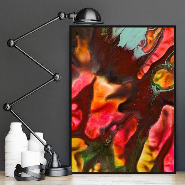 kolorowy plakat abstrakcyjny z motywem farb
