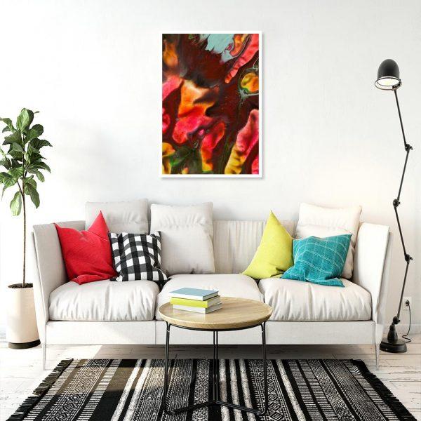 pionowy plakat nad sofę z motywem kolorów