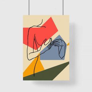 kobieta na kolorowym plakacie