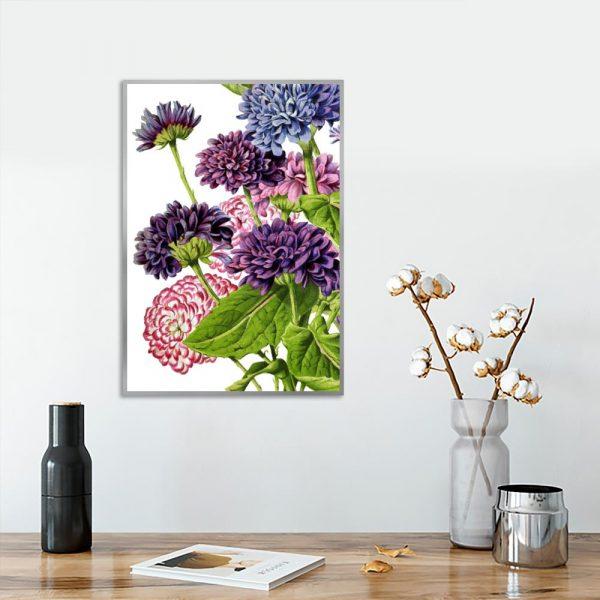 plakat z kwiatami jako dekoracja