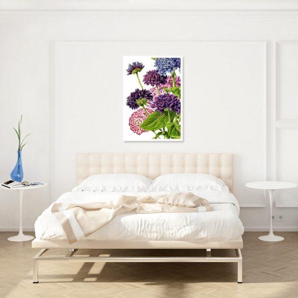 plakat nad łóżko z kwiatami