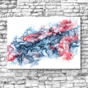 niebiesko-różowe wodniste plamy