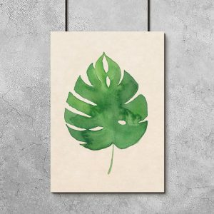 dekoracja z liściem monstery