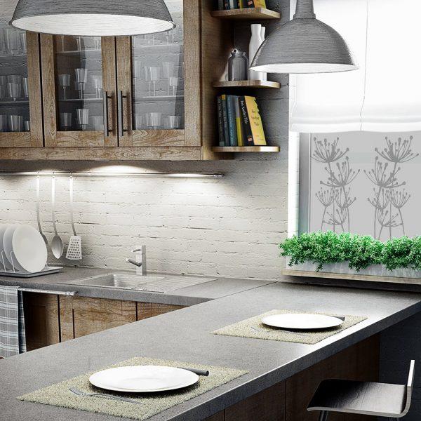 naklejka na szybę z roślinami do kuchni