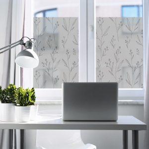 Okleina mrożone szkło wzór botaniczny do biura