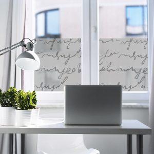 Okleina mrożone szkło z napisami do biura