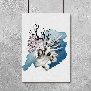 plakat z morskimi roślinami