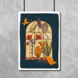 plakat kwiaty w klatce