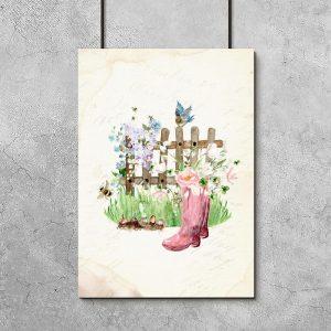 plakat gumowce i kwiaty