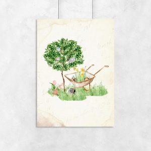 plakat vintage drzewo i taczka