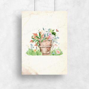 plakat doniczka kwiatów