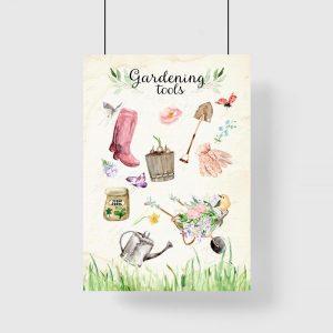 plakat beżowy przybory ogrodowe