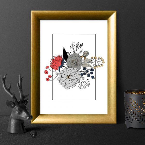 plakat kwiatowa kompozycja