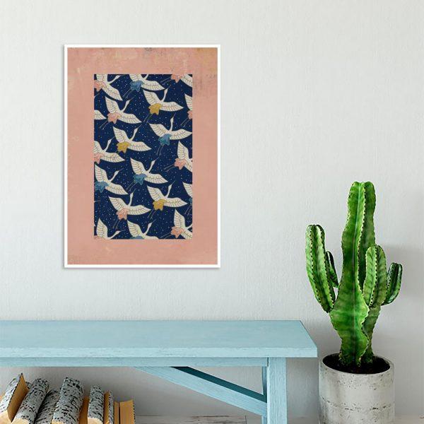 plakat z lecącymi ptakami