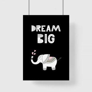 plakat słonik i napis